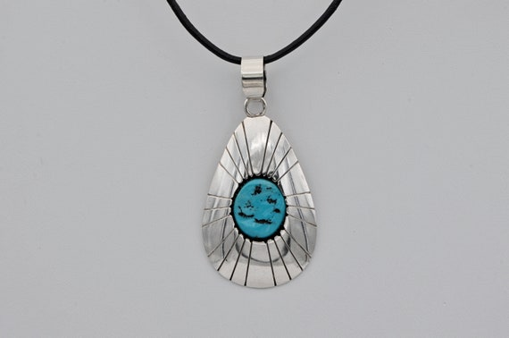 Vintage Tom Nez Navajo Sterling Silver Shadowbox Turquoise Pendant