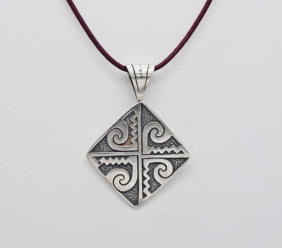 "Vintage Native American Rhombus Shape Sterling Silver Pendant with Swirls & Zig Zag Design has Robust Bale and is Signed ""CDI"""
