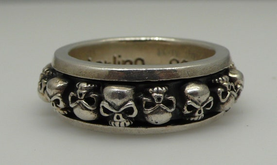 Men's Vintage Rotating (Spinning) Skull Sterling Silver Large Ring Band Size 13