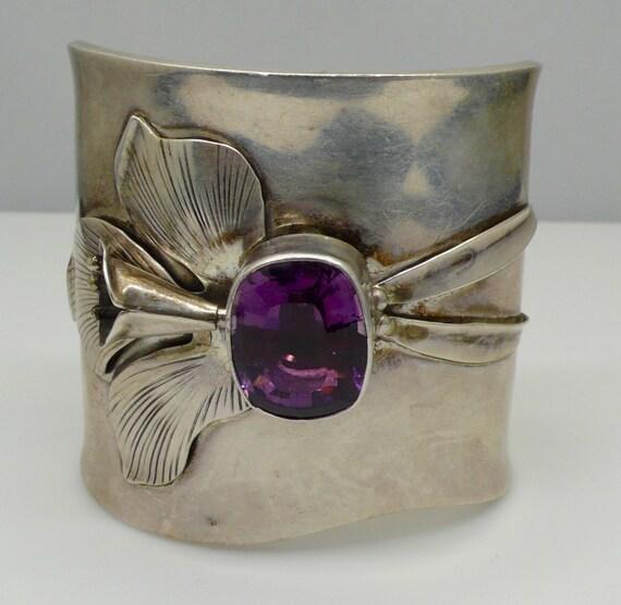 Vintage 1980's Wide Carl Felley Amethyst and Calla Lily Design Cuff Bracelet