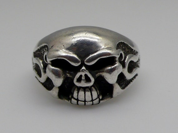 Vintage Men's Flaming Skull Sterling Silver Large Ring Size 14-3/4