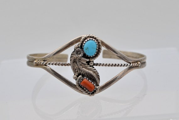 Vintage Navajo Robert Becenti Sterling Silver Turquoise & Coral Native American Signed Cuff Bracelet