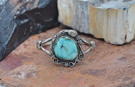 Stunning Vintage Billy Slim Navajo Turquoise Sterling Silver Native American Cuff Bracelet