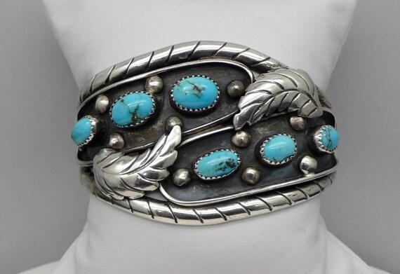 Vintage Navajo 6 Turquoise Leaf Pattern Sterling Silver Cuff Bracelet