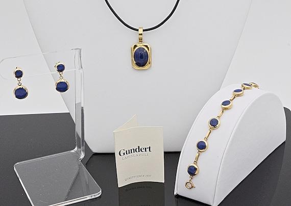 Beautiful Gundert Lapis Lazuli 18k Yellow Gold Matching; Pendant, Earring, bracelet Set