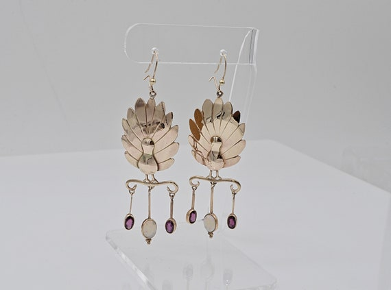 Vintage Custom Peacock 10kt Yellow Gold Dangle Earrings with Natural Fire Opal and Amethyst