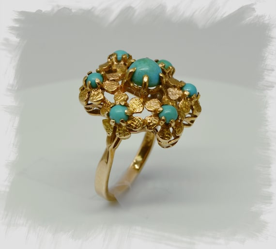 1950's Vintage Gold Flower Design with 7 Persian Turquoise Cabochon's Finger Size 5 1/2