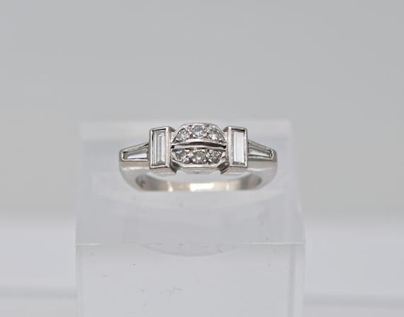 1930's Antique Art-Deco 1/4 Carats European Mine Cut and Baguette Diamonds, 14k White Gold Ring