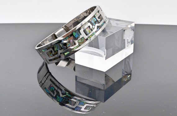 Vintage Sterling Silver Inlaid with Abalone Cuff Hinged Bracelet By Taxco TC-49 Mexico