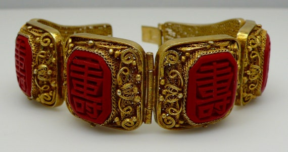 Vintage Chinese 1930's Filigree Gold Plated Silver Carved Red Cinnabar with Shou Character or Longlife
