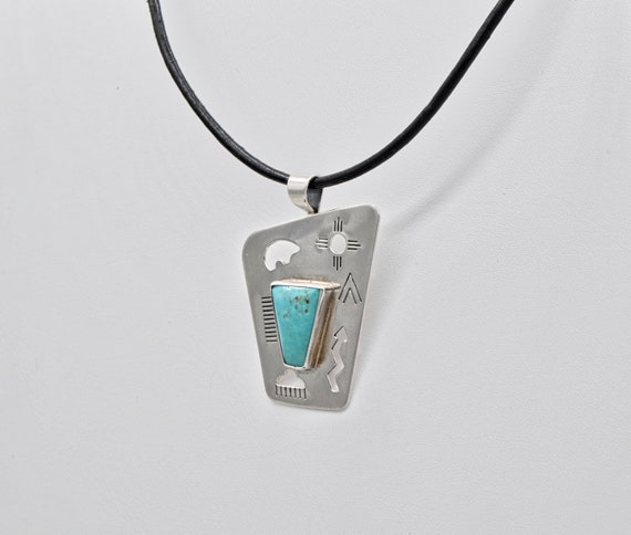 Native American Sterling Silver & Turquoise Pendant by Carolyn Pollack, Old Carlisle Jewelry Albuquerque