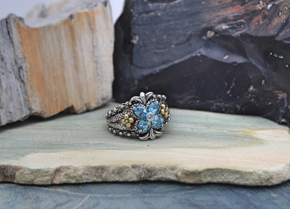 Authentic  Barbara Bixby Sterling Silver & 18K Gold Topaz Flower Ring