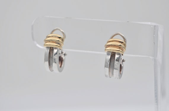 Authentic Tiffany & Co. 1995 Sterling Silver and 18k Yellow Gold Half Hoop Groove Earings