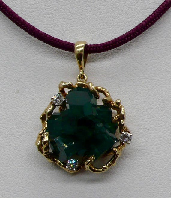 Vintage 14kt Yellow Gold Pendant with Raw Uncut Green Emerald and Diamonds