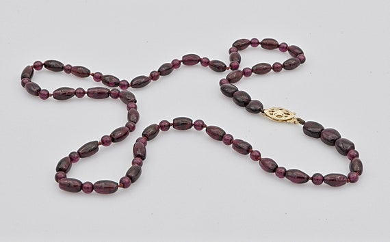 Dazzling Deep Reddish-Brown Bead Strand necklace with 14kt Yellow Gold Clasp - 20 inches Long