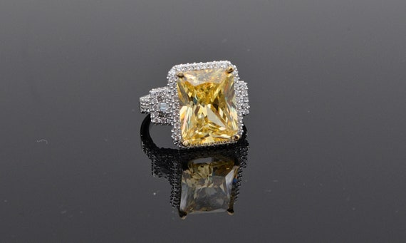 10 Carat Radiant Cut Yellow Cubic Zirconia with White Round CZ's in Sterlins Silver Ring Size 8