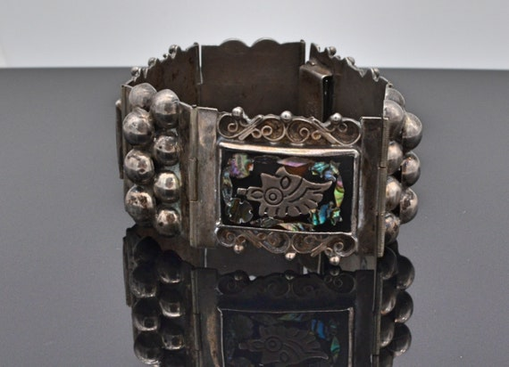 Vintage 1940's Sterling Silver Aztec Panel bracelet with Onyz & Abalone Mother of Pearl made in Mexico Signed FD