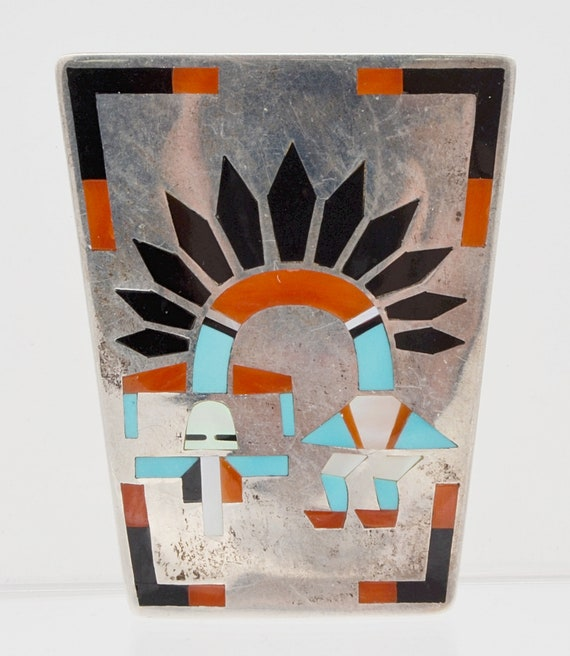 Zuni 1960's Fred & Lolita Natachu Rainbow Man Sterling Silver Bolo Slide