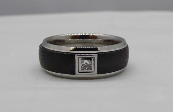Triton Black & White Tungsten Carbide Mens Band with Diamond Detail