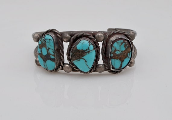 Native American 3 Turquoise Sterling Silver Cuff Bracelet signed J.B