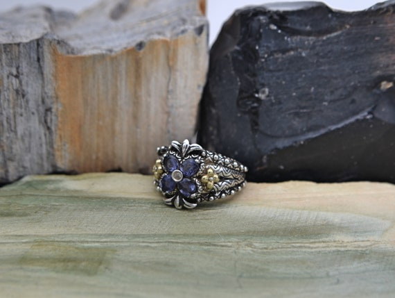 Authentic Barbara Bixby Sterling Silver & 18k Gold Amethyst Flower Lady's Ring - Finger Size 8 US