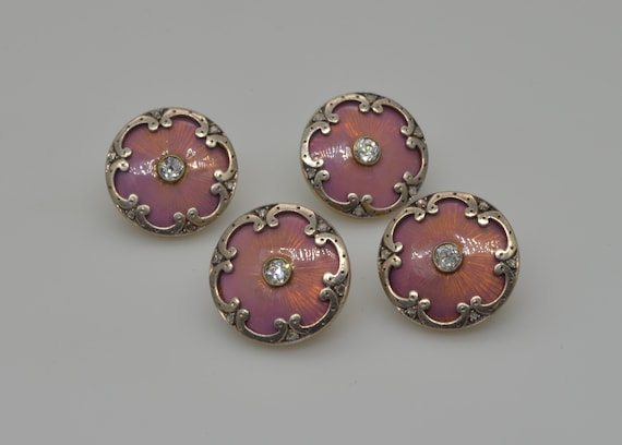 Set of 4 Antique Belle epogue Pink Guilloche Enamel with Platinum, 14k Gold and Rose-Cut Diamond Shirt Buttons