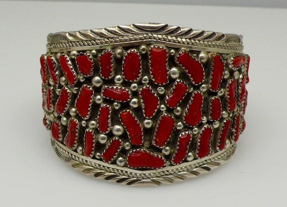 Vintage Navajo Cluster Red Coral Sterling Silver Bracelet Cuff Signed Piece