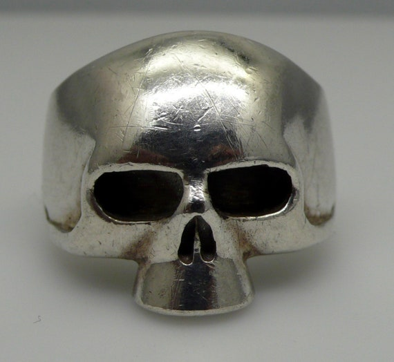 Vintage Sterling Silver  Large Skull Ring Size 14