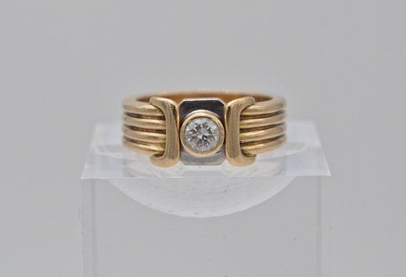 Vintage .25ct Round Diamond 14kt Yellow Gold Retro-Modern Unisex Ring