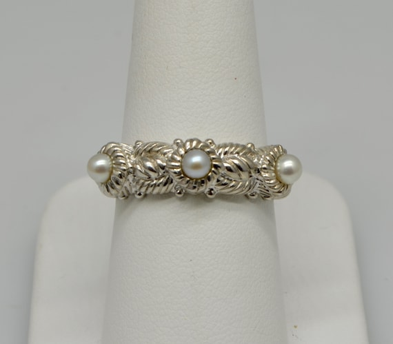 Vintage Judith Ripka Stackable Sterling Silver Three (3) Pearl Lady's Ring