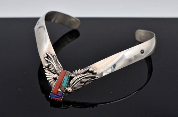 "Rare David Tune Navajo ""V"" Sterling Silver Choker Decorated with An Overlay Design Set with Coral, Turquoise, Angel Skin Coral, Lapis Lazuli"