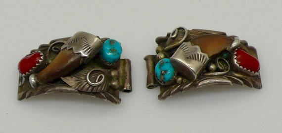 Vintage Native American Turquoise, Coral Sterling Silver Small Wristwatch Tips (Shoulders) by Keith James