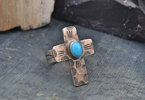 Vintage Native American Sterling Silver Cross Ring with Nice Oval Turquoise by Golden Eagle Trading Company - Finger Size 8