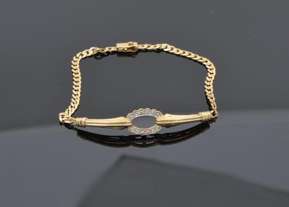 Vintage Diamond Pave Open Oval 14kt Yellow Gold Curb Link Bracelet