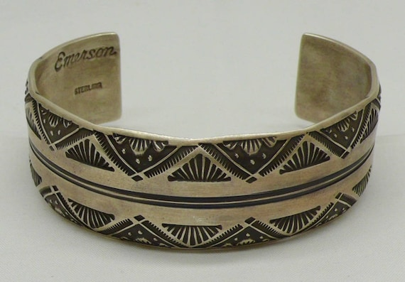 Vintage Native American Sterling Silver Cuff Bracelet by Emerson