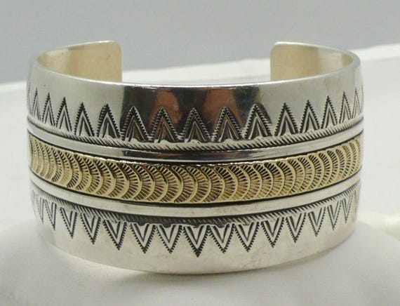 Vintage Wide Native American Navajo Sterling Silver and 14kt Gold Wide Cuff Bracelet