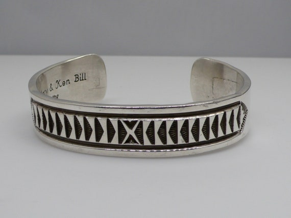 Vintage Native American Navajo Heavy Sterling Silver 87 grams Cuff Bracelet by Mary & Ken Bill