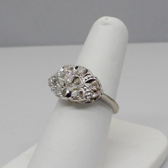 "Vintage 14kt White Gold Lady's Diamond ""EYE"" Ring"
