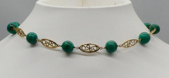 Vintage Green Malachite Bead and 14kt Yellow Gold Filigree Choker Necklace