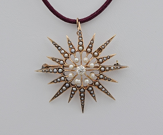 Antique Art Nouveau 14kt Yellow Gold Sunbusrt Star Brooch / Pin / Pendant with a .25 carat Old Mine Cut Diamond and Seed Pearls