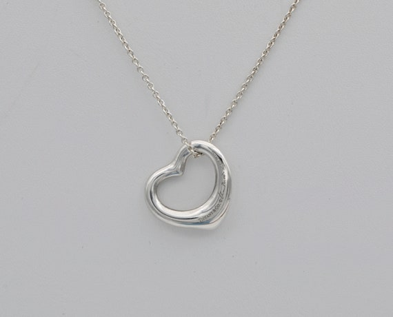 """Preowned Tiffany & Co. Elsa Peretti® Sterling Silver 22mm Open Heart Pendant with a Tiffany Sterling Silver 18"""" Chain with Pouch"""