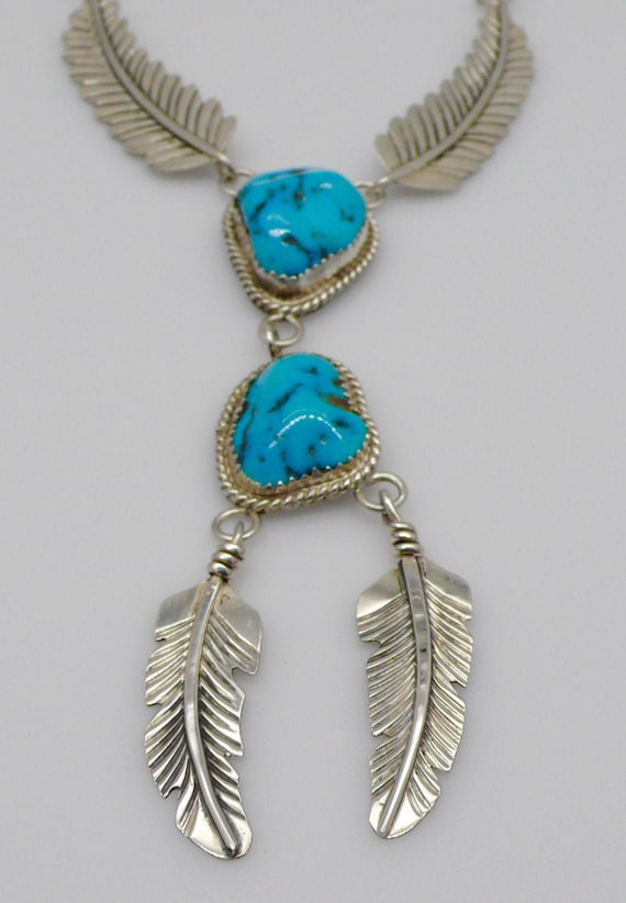 Vintage Sterling Silver and Double Turquoise Dangling Feather Native American Necklace by E. Largo
