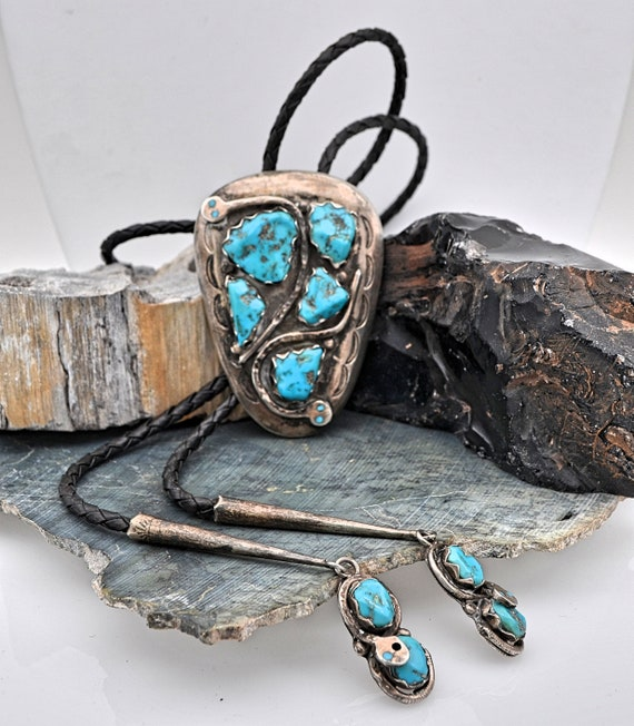 Vintage Effie Calavaza Zuni Snake Design with Sleeping Beauty Turquoise Bolo Tie in Sterling Silver - Signed