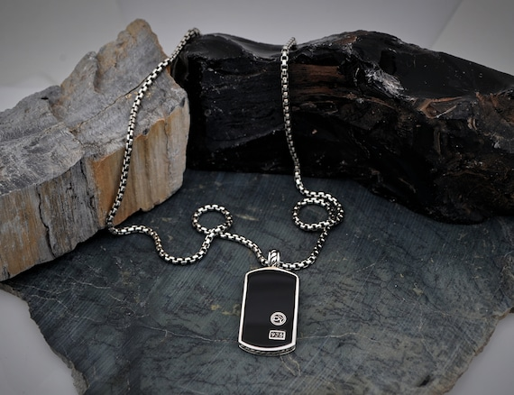 Authenitc David Yurman Sterling Silver Tag with Black Onyx with Sterling Silver Chain