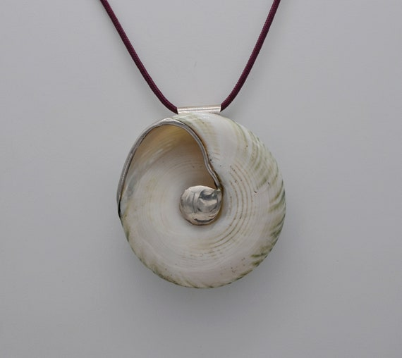 Large Natural Spiral Shell in Sterling Silver Pendant