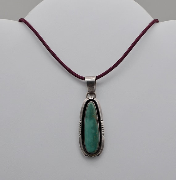 Navajo Artist Pete Sanchez Vintage Native American Green Jade Sterling Silver Pendant