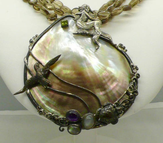 RARE!! Abalone Shell Mermaid scene necklace made in Mexico