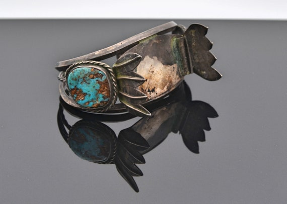 "Native American Turquoise Sterling Silver Cuff Watch Bracelet - Signed ""K"""