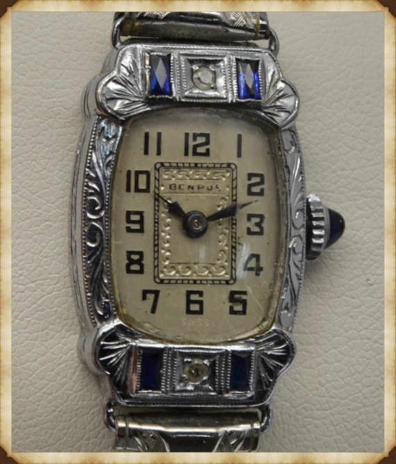 1920's Antique Art-Deco Benrus 14k White Gold & Steel Women's Wristwatch with Diamond and Sapphire Accents