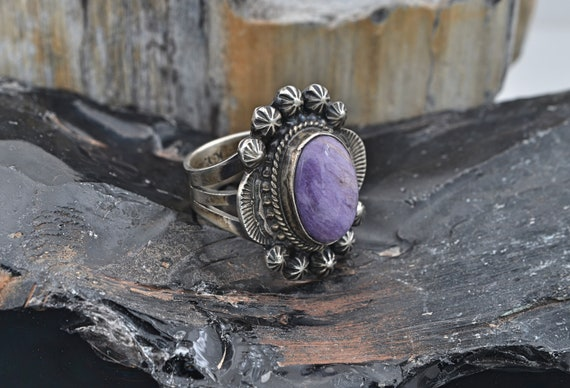 Vintage Lady's Native American Sterling Silver & Charoite Ring - Finger Size 7-1/4, Signed NY for Navajo Artist Kathy Yazzie